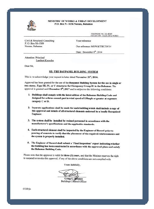 Certificaciones de construcción Baupanel - Bahamas