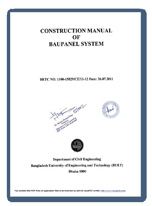 Certificaciones de construcción Baupanel - Bangladesh