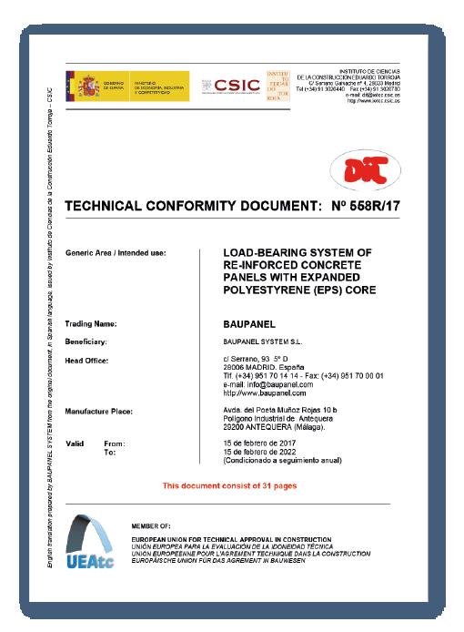 Certificaciones de construcción Baupanel - DIT