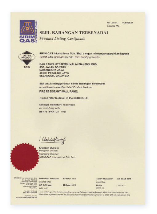 Certificaciones de construcción Baupanel - Malasia