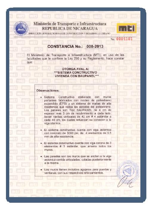 Certificaciones de construcción Baupanel - Nicaragua