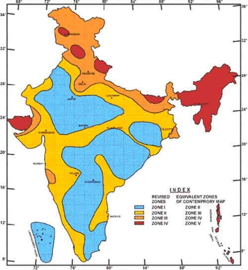 Mapa Sismográfico India, Terremotos