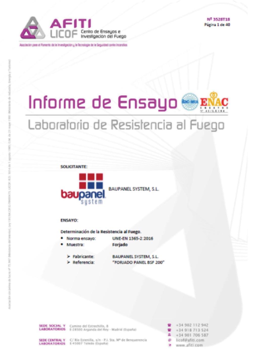 Certificación de resistencia al fuego Afiti en forjados Baupanel