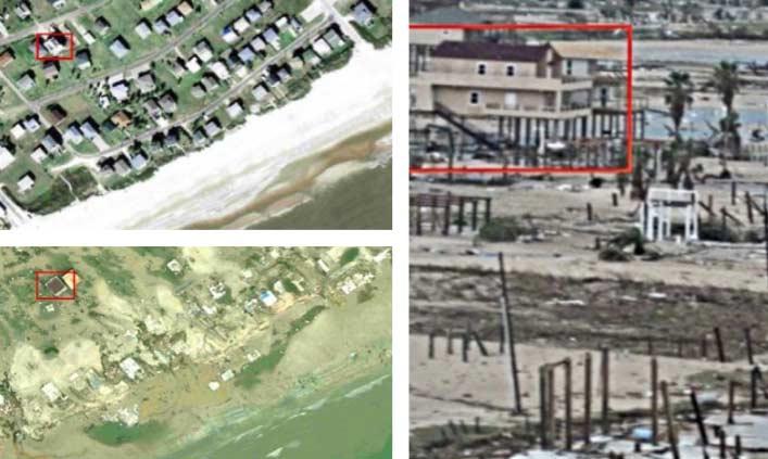Fotografías aéreas de una vivienda en Crystal Beach antes y después del huracán IKE, Península Bolívar Texas USA (14/09/2008)